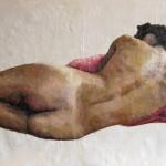 liggend naakt met rood kussen